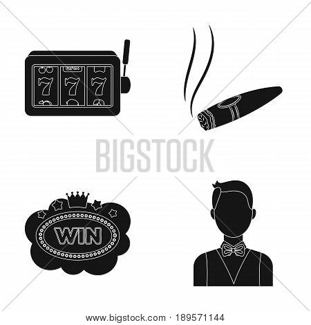 A gaming machine a one-armed bandit, a cigar with smoke, a five-star hotel sign, a dilettante in a vest. Casinos and gambling set collection icons in black style vector symbol stock illustration .