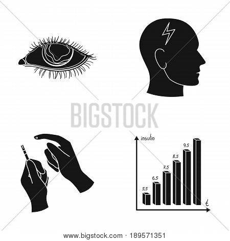 Poor vision, headache, glucose test, insulin dependence. Diabetic set collection icons in black style vector symbol stock illustration .