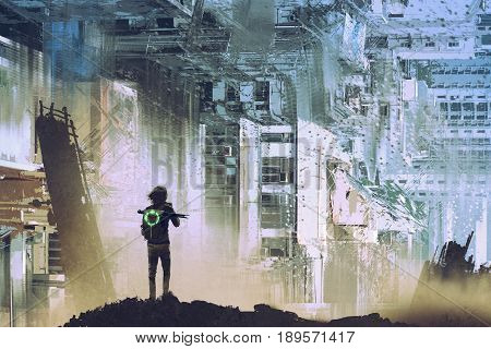 sci-fi concept of the traveler take picture of abstract futuristic city with digital art style, illustration painting