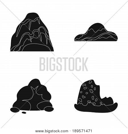 Boulders, a rounded mountain, rocks in the sea. Different mountains set collection icons in black style vector symbol stock illustration .