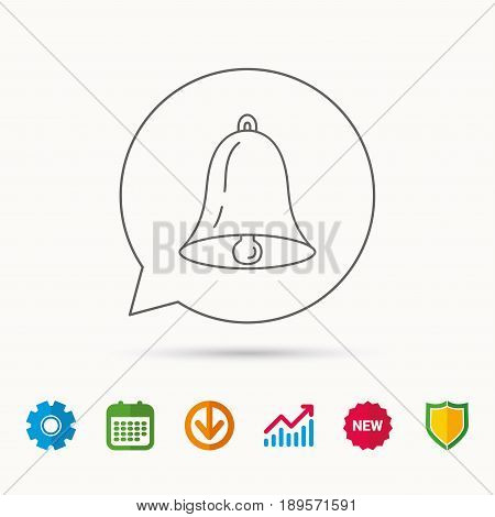 Bell icon. Sound sign. Alarm handbell symbol. Calendar, Graph chart and Cogwheel signs. Download and Shield web icons. Vector