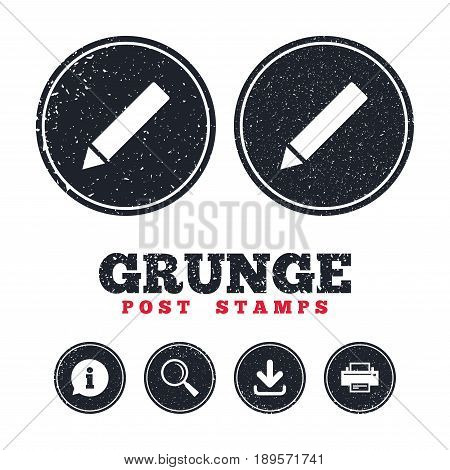 Grunge post stamps. Pencil sign icon. Edit content button. Information, download and printer signs. Aged texture web buttons. Vector