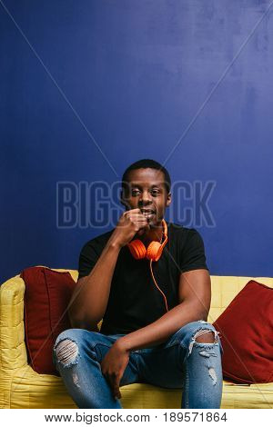 Black Man Rest Alone Headphones Guy African Home Leisure Meloman Music Pop Art Concept