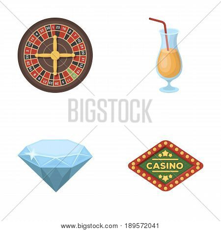Roulette, a glass with a drink, a diamond, a sign with the inscription Casino. Casino and gambling set collection icons in cartoon style vector symbol stock illustration .