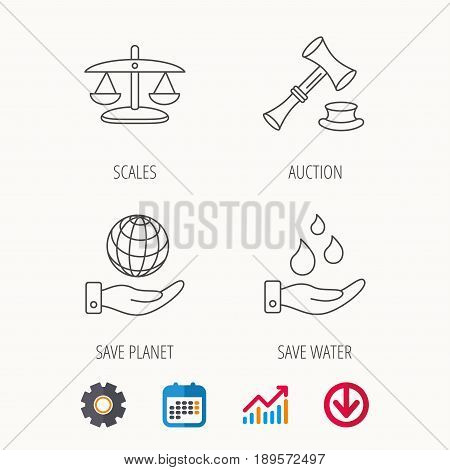 Save nature, auction and scales of justice icons. Save planet linear sign. Calendar, Graph chart and Cogwheel signs. Download colored web icon. Vector