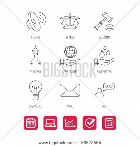 Strategy, auction and scales of justice icons. Save planet, water and lamp lightbulb linear signs. Faq and law hammer flat line icons. Report document, Graph chart and Calendar signs. Vector