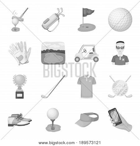 A golfer, a ball, a club and other golf attributes.Golf club set collection icons in monochrome style vector symbol stock illustration .