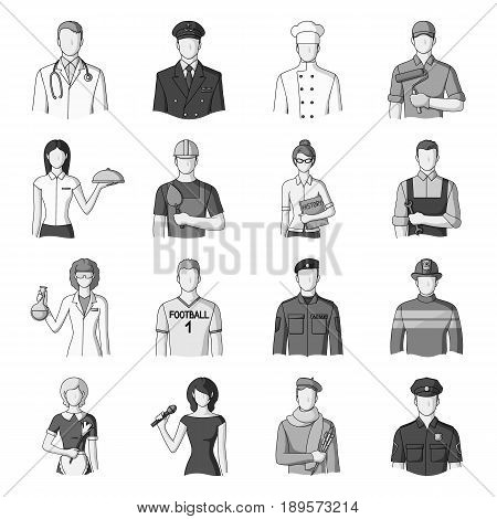 Doctor, worker, military, artist and other types of profession.Profession set collection icons in monochrome style vector symbol stock illustration .