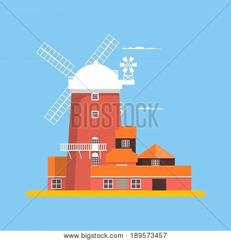 Beautiful windmill at Cley in Norfolk. Flat vector illustration