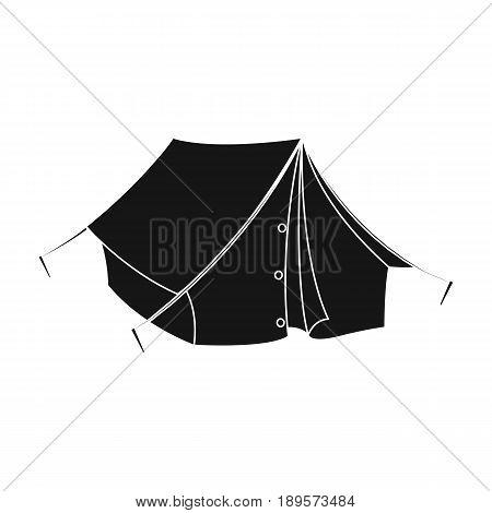 Tourist tent.African safari single icon in black style vector symbol stock illustration .