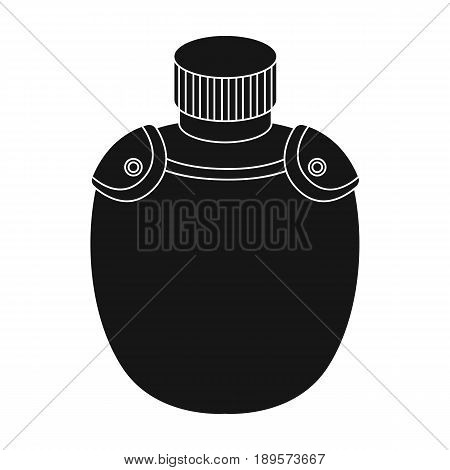 Jar with water in the case.African safari single icon in black style vector symbol stock illustration .