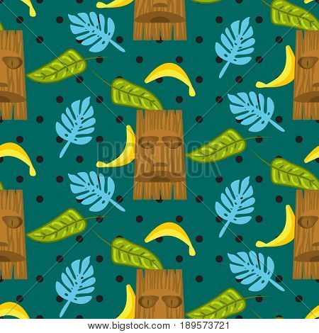 Tiki mask and palm leaves green dotted seamless vector pattern. Hawaii theme, palm leaves and banana fruits.