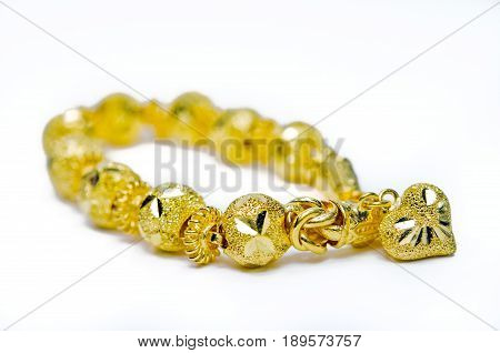 Gold Bracelet 96.5 Percent Thai Gold Grade With Gold Heart Shape Isolated On White