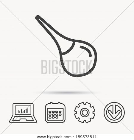 Medical clyster icon. Enema sign. Notebook, Calendar and Cogwheel signs. Download arrow web icon. Vector