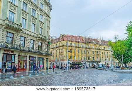 The Crowded Avenue In Lvov