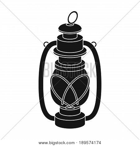 Portable kerosene lamp.African safari single icon in black style vector symbol stock illustration .