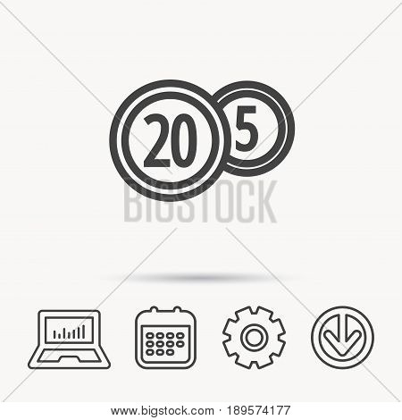 Coins icon. Cash money sign. Bank finance symbol. Twenty and five cents. Notebook, Calendar and Cogwheel signs. Download arrow web icon. Vector