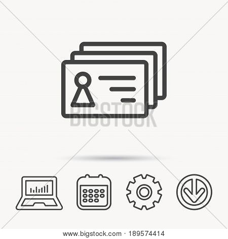 Contact cards icon. Identification badges sign. Identity holder symbol. Notebook, Calendar and Cogwheel signs. Download arrow web icon. Vector