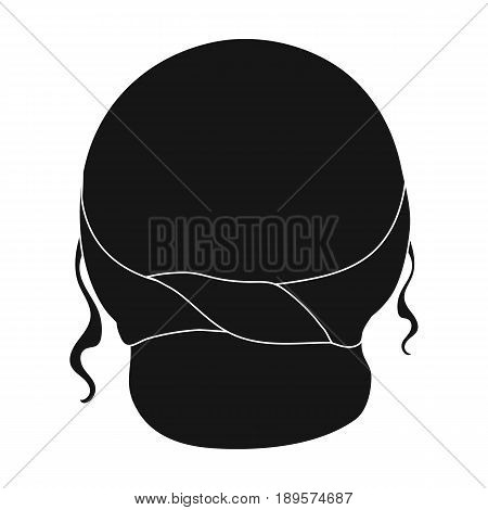 Red combed behind.Back hairstyle single icon in black style vector symbol stock illustration .