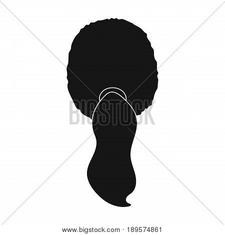 Red with a tail.Back hairstyle single icon in black style vector symbol stock illustration .