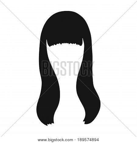 Dark long.Back hairstyle single icon in black style vector symbol stock illustration .