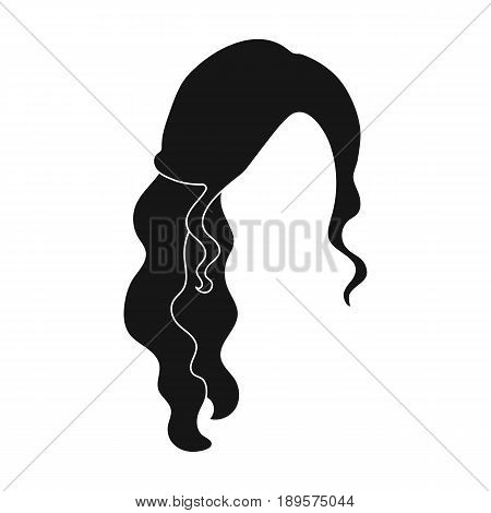 Red wavy.Back hairstyle single icon in black style vector symbol stock illustration .