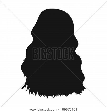 Red long back.Back hairstyle single icon in black style vector symbol stock illustration .