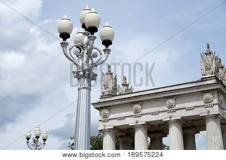 Rotunda and lamps on the embankment of the city of Volgograd