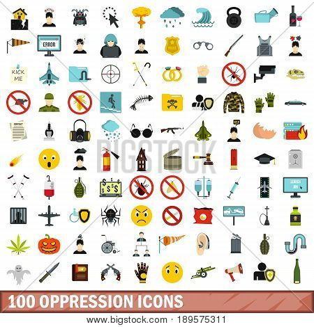 100 oppression icons set in flat style for any design vector illustration