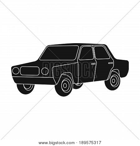 Old car.Car single icon in black style vector symbol stock illustration .