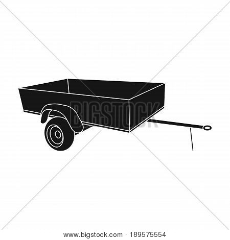Trailer with sides for the car.Car single icon in black style vector symbol stock illustration .