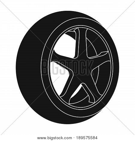 Wheel with a tire cover for the car.Car single icon in black style vector symbol stock illustration .