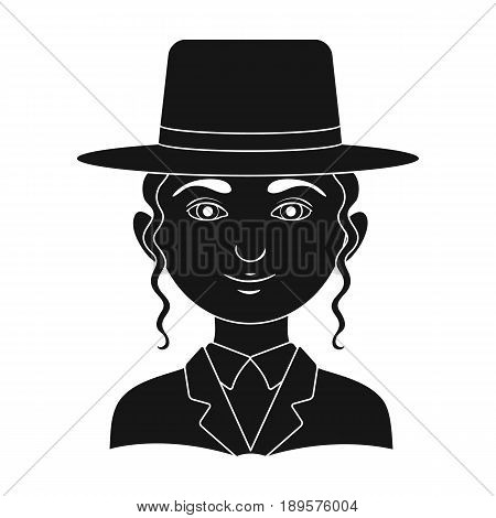 Jew.Human race single icon in black style vector symbol stock illustration .