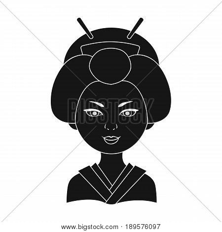 Japanese.Human race single icon in black style vector symbol stock illustration .