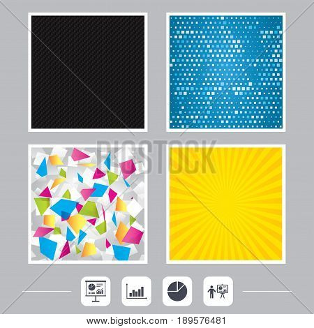 Carbon fiber texture. Yellow flare and abstract backgrounds. Diagram graph Pie chart icon. Presentation billboard symbol. Supply and demand. Man standing with pointer. Flat design web icons. Vector