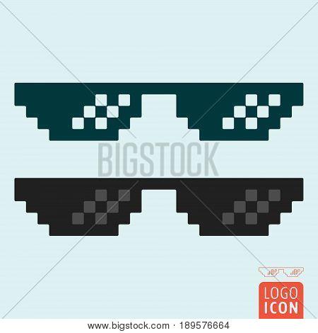 Pixel glasses icon. Thug life meme glasses. Vector illustration