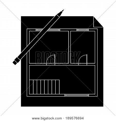 House plan.Realtor single icon in black style vector symbol stock illustration .