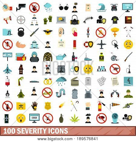 100 severity icons set in flat style for any design vector illustration