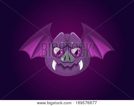 Illustration of a bat. Purple bat. Cartoon