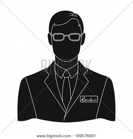 Male realtor.Realtor single icon in black style vector symbol stock illustration .