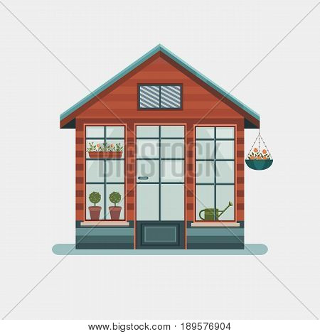 Vector illustration of a greenhouse for plants in the garden. Glasshouse for growing plants and flowers. Work in the garden in the summer and spring. Tools for gardening. Flat style.