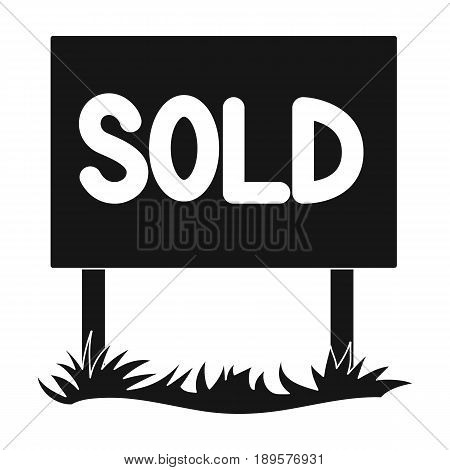 Signboard-sold.Realtor single icon in black style vector symbol stock illustration .