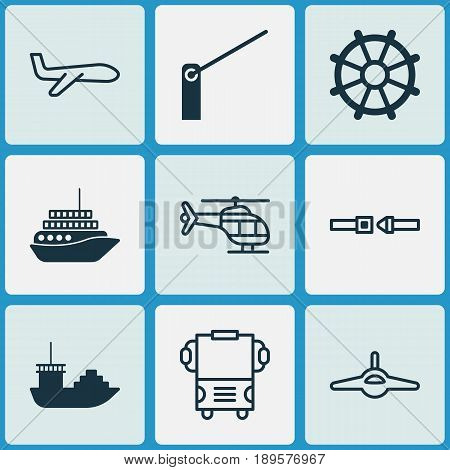 Transport Icons Set. Collection Of Air Transport, Roadblock, Transport And Other Elements. Also Includes Symbols Such As Helm, Transport, Seatbelt.