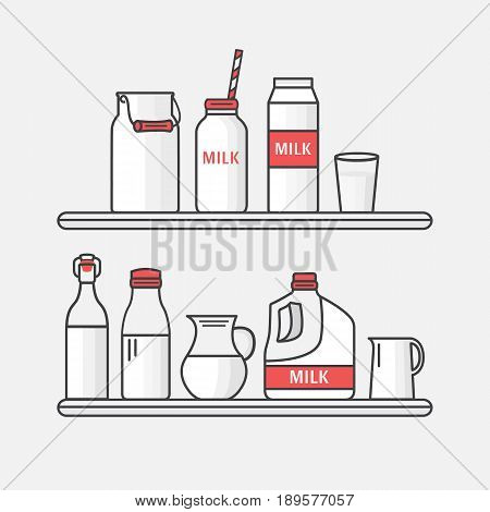 Set of packaging for milk. Collection milk containers box, bottle, jug, can, glass. Vector illustration of a dairy shop. Illustration in line style.