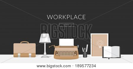Banner workplace for the website and mobile design. Workplace of the writer.Vector flat illustration of work place in the office. Collection of elements typewriter, lamp, pen, note book, briefcase.