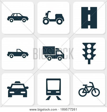 Shipment Icons Set. Collection Of Cabriolet, Way, Railway And Other Elements. Also Includes Symbols Such As Camion, Bicycle, Car.