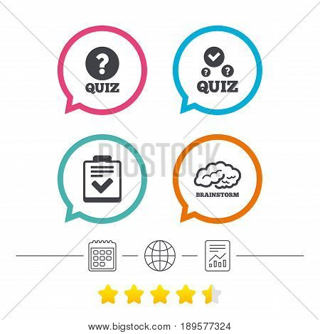 Quiz icons. Human brain think. Checklist with check mark symbol. Survey poll or questionnaire feedback form sign. Calendar, internet globe and report linear icons. Star vote ranking. Vector