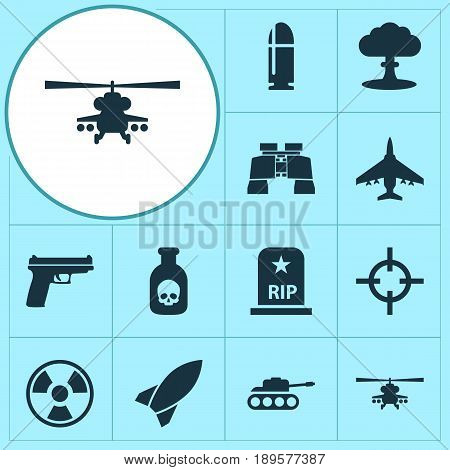 Warfare Icons Set. Collection Of Weapons, Slug, Aircraft And Other Elements. Also Includes Symbols Such As Tank, Zoom, Missile.