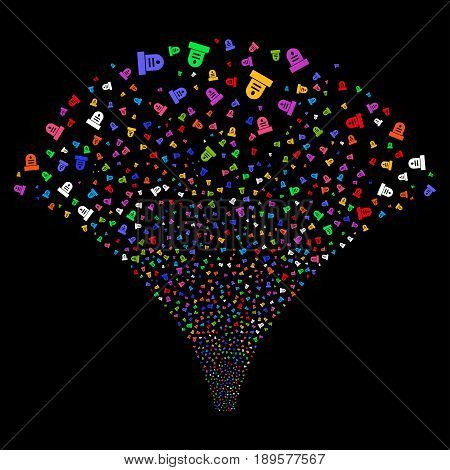 Grave salute stream. Vector illustration style is flat bright multicolored iconic symbols on a black background. Object fireworks fountain done from random pictographs.