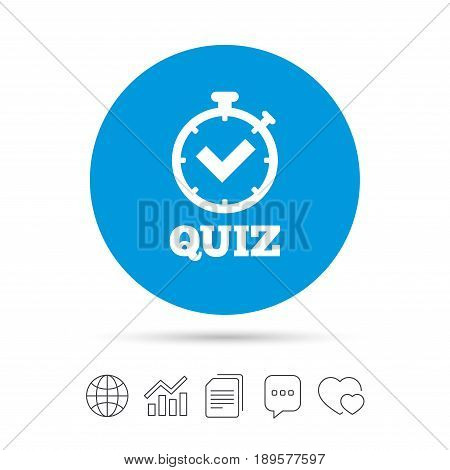 Quiz timer sign icon. Questions and answers game symbol. Copy files, chat speech bubble and chart web icons. Vector